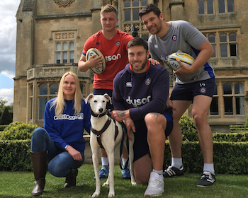 From top left, Bath Rugby's Jack Walker, Charlie Ewels and Matt Banahan, team up with Zena Jones and Casper the lurcher to promote Kennel Break - Bath Cats and Dogs Home's June business fundraising event