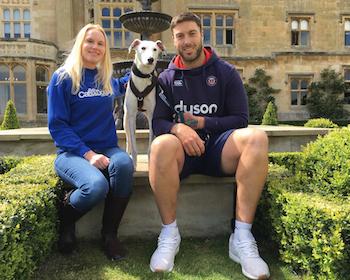 Zena Jones, senior fundraiser for Bath Cats and Dogs Home, Casper the lurcher and Matt Banahan, Bath Rugby's longest serving player