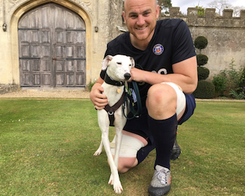 Bath Rugby's Matt Garvey with Casper the lurcher