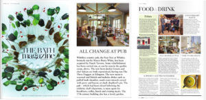 Press coverage in the The Bath Magazine for the launch of the Pear Tree Inn, Wiltshire