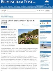 Birmingham Post yurt review