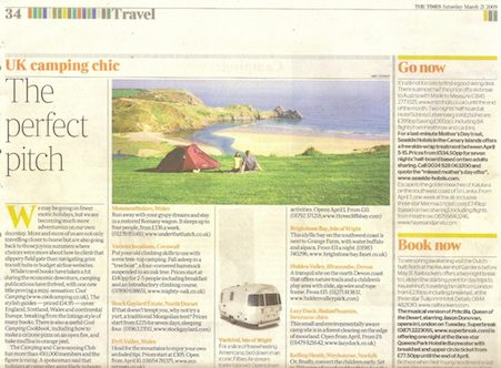 Dorset yurt feature in The TImes