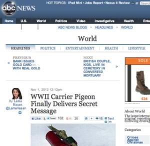 ABC News / carrier pigeon story