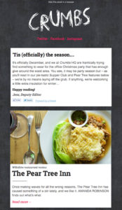 Review for Pear Tree Inn, in Crumbs' newsletter