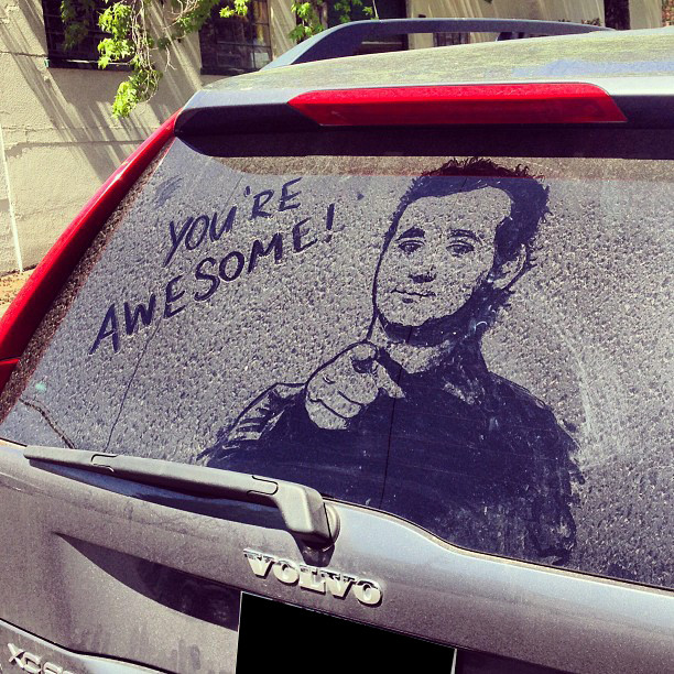 An unlikely source of reverse graffiti inspiration, but beautifully done. Photo tweeted by @NickDixon8 of ITV Daybreak
