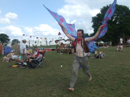Happy butterfly man at The Park, Glastonbury