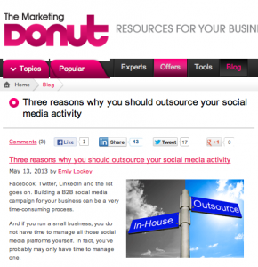 marketing donut article on outsourcing social media