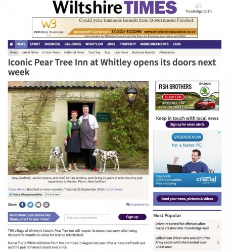 Wiltshire Times coverage for the Pear Tree Inn