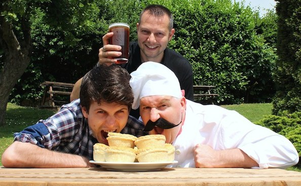 (From left to right) winner of Man vs Pie at Pie Fest 2013, Robin Wells of Frome; Inn at Freshford landlord Mike Parkin; Siberian pie maker and serious pie-eating contest contender Peter Pietrovsky