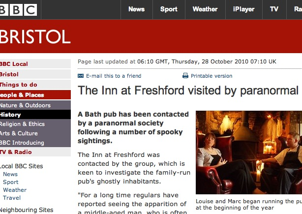 In autumn 2010, the Inn at Freshford's ghostly quiet bar was far more likely to be frequented by its spooky regulars than mortal, paying customers