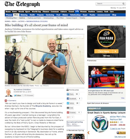 Coverage online in The Telegraph, for The Bicycle Academy