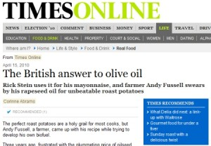 British rapeseed Times press coverage