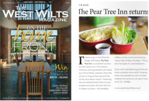 West Wilts magaazine coverage for the Pear Tree Inn